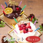 クリスマスケーキ 2019 予約 手作り 子供 宅配 誕生日ケーキ バースデーケーキ本州 送料無料 デュエット Ver.2 4号x2
