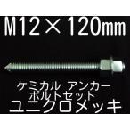 ケミカル アンカーボルト セット ユニクロメッキ M12×120mm 寸切ボルト1本 ナット2個 ワッシャー1個 Vカット 両面カット「取寄せ品」