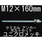 ケミカル アンカーボルト セット ユニクロメッキ M12×160mm 寸切ボルト1本 ナット2個 ワッシャー1個 Vカット 両面カット「取寄せ品」