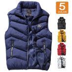 中綿ベスト メンズ 前開き ベストジャケット フードなし ダウンベスト 軽量 暖かい 防寒 保温 メンズファッション