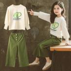 子供服 セットアップ キッズ 女の子 春秋 長袖 上下セット 2点セット トップス Tシャツ ロングパンツ ガウチョパンツ ジュニア おしゃれ 可愛い 新品 150 160cm
