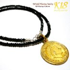 オランダ 18金 18K コーティング ゴールド コイン ネックレス ペンダント 天然石 世界のコイン コインネックレス