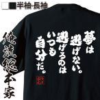 Yahoo!THE FOOLおもしろグッズ おもしろtシャツ  メンズ 文字 名言 俺流総本家(夢は逃げない。逃げるのはいつも自分だ。)無地 雑貨 半袖 漢字 筆文字