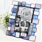 フォトフレーム 綺麗なブルーのステンドグラス 青 写真立て インテリア 小物 置物 ディスプレイ プレゼント 置物 オブジェ ガラス 752