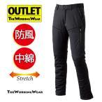 アウトレット 105cm 防風パンツ ブラック 5Lサイズ 作業服 作業着 防寒用 328-2 防風 中綿 ストレッチパンツ