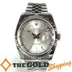 ロレックス / ROLEX : デイトジャスト G番 ルーレット シルバー文字盤 ホワイトゴールド 116234 時計 腕時計 メンズ[男性用] 中古
