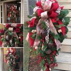 クリスマスリース 60cm 90cm クリスマス スワッグ 大きい オーナメント ナチュラル リース ドア 玄関 庭園 部屋 壁飾り ガーランド 新年飾り 人工造花