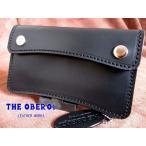 財布 レザー 革財布 二つ折 ミドル ハーフ トラッカーウォレット 牛革 サドルレザーウォレット ブラック