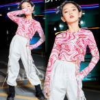 キッズダンス衣装 韓国 チアダンス衣装 トップス ピンク 白 パンツ ガールズ ヒップホップ HIPHOP 派手 セットアップ へそ出し