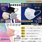 0.1μmカット 高性能 不織布マスク 50枚入 3つの基準で99%獲得【VFE・PFE・BFE取得】PM2.5 花粉 99%カット 高機能フィルター採用 平ゴム やわらかマスク