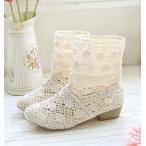 サマーブーツ サンダル ブーツサンダル レース 夏 ブーツ レディース靴 ショートブーツ メッシュ 花柄 ブーティー ショートブーツ 靴 歩きやすい 疲れない