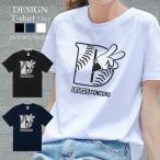 Tシャツ レディース 半袖 トップス 男女兼用 Deuces ピースサイン ハンドサイン Mickey hands HIP HOP ヒップホップ クルーネック Uネック プリントTシャツ