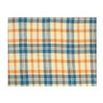 代引不可 マルチクロス チェック ブルーオレンジ 145×225cm 11819880131