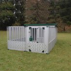 代引き不可 組み立て式 ガルバリウム製ドッグハウス DFD-2とサークルSGT-1のセット/1820mm×1820mm×H1200mm/1坪屋外用犬小屋
