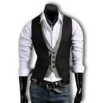 ベスト ジレ メンズ 格子柄 チェック カジュアル フォーマル ビジネス トップス スーツに似合う 黒 カーキ