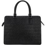 潮牛 イントレチャート 本革 ナッパレザー メンズ ブリーフケース ビジネスバッグ 14PC A4対応 黒 編み込み メッシュ ハンドメイド 手提げバッグ 通勤 書類鞄