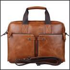 潮牛 贅沢ヌメ革オイルレザー メンズ ブリーフケース ビジネスバッグ 14PC A4対応 キャメル 2WAY 手提げ 斜め掛けバッグ 書類鞄