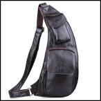 潮牛 円弧形 本革 レザー メンズ ボディバッグ 斜め掛け ワンショルダーバッグ レディース iPadmini対応 柔軟牛革 黒/茶2色 男女兼用 鞄