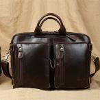 潮牛 送料無料 贅沢ヌメ革 本革 レザー メンズ ブリーフケース ビジネスバッグ 14PC/A4対応 書類かばん 3WAY仕様 リュックサック 斜め掛けバッグ 鞄