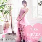 キャバ ドレス キャバドレス ロング 前ミニ 小さい Tika USA L.Aインポートドレス 明日花キララ ビジュー付き ふんわり チュールロングテールドレス ピンク XS S