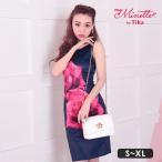 キャバ ドレス キャバドレス 大きいサイズ Sサイズ〜XXLサイズ ミニ Tika holic ティカホリック 薔薇プリントタイトミニドレス 安い キャバ嬢ドレス ネイビー