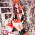 ショッピングコスプレ ゆんころ着用 Tikaティカ コスプレ衣装♪5setキツネコスプレツーピース アニマル (オレンジ)