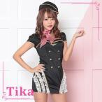 コスプレ 衣装 ハロウィン レディース CA 制服 Tika ティカ サイドレース フリル セクシー cute キャビンアテンダント コスチューム セット ブラック M