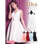 [大きいサイズ対応!S〜XLサイズ]Tikaティカ カシュクールウエストリボンAラインミニドレス(ホワイト/ピンク/レッド/ブルー/ブラック)ブライズメイド