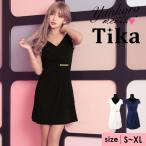 キャバ ドレス キャバドレス 白 青 黒 大きいサイズ Tika ティカ ラップデザイン ゴールドプレート タイトミニドレス ホワイト ネイビー ブラック S M L サイズ)