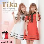 キャバ ドレス キャバドレス 大きいサイズ S〜XXL ミニ Tika ティカ バイカラー オフショ...