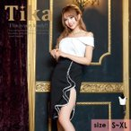 キャバ ドレス キャバドレス 大きいサイズ S〜XXLサイズ ミニ Tika ティカ バイカラーデザイン ツーピース ミニドレス ホワイト×ブラック 白 黒 通販 激安