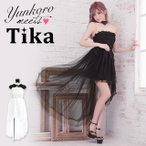 キャバ ドレス キャバドレス 前ミニ Tika ティカ フラワーレースチュールロングテールタイトミニドレス(ホワイト/ブラック) ナイトドレス 通販 激安 格安