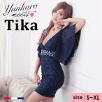 Tika ティカ フレアスリーブレースタイトミニドレス ネイビー 紺 レッド 赤 ホワイト 白 Sサイズ Mサイズ Lサイズ XLサイズ 通販 激安 格安