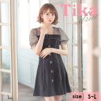 キャバ ドレス キャバドレス ミニ 黒 大きいサイズ キャバワンピース パススリーブ 袖あり 半袖 ドット柄 シアー シースルー フレア Aライン ミニドレス