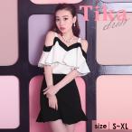 キャバドレスキャバドレス大きいサイズミニ白黒Tikaティカフリルオープンシ...