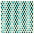 丸モザイクタイル シート(224粒)販売。(19mm 磁器質)緑 ミックスデザインタイル対応、おしゃれなアンティーク、レトロモダン風。玄関・テーブル・浴室(風