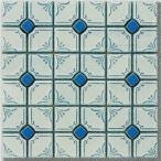 モザイクタイル シート 花柄 磁器質 昭和レトロ風 青。ミックスデザインタイル対応、おしゃれなアンティーク、レトロモダン風。キッチン・玄関・テーブル・浴室