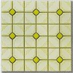 モザイクタイル シート 花柄 磁器質 昭和レトロ風 黄緑色。ミックスデザインタイル対応、おしゃれなアンティーク、レトロモダン風。キッチン・玄関・テーブル・