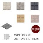 磁器床タイル 100角 Cスロープ 凸 シート(9枚)販売です厨房床・傾斜・坂等の角度ある道等にお勧め。 防滑・洋風・和風建築の建材(エクステリア用)です。補