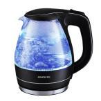 【新品】Ovente ブルーLED内臓 1.5L ガラス 電気 ケトル 黒