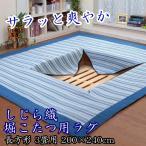 【セール!】洗える しじら織堀こたつ用ラグ 長方形 3畳用 200×240cm (ストライプ柄)