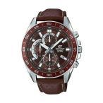 CASIO EDIFICE CHRONOGRAPH カシオ エディフィス クロノグラフ EFV-550L-5A 腕時計 メンズ アナログ 防水 ブラウン 茶 シルバー レザー 革ベ