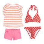 水着 子供 女子 女の子 セパレート ジュニア ビキニ 体型カバー Tシャツ カバーアップ ショートパンツ 160cm SS S M L セール