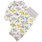 パジャマ ベビー 赤ちゃん 男の子 綿100% 飛行機柄 腹巻き付き 長袖 寝巻き 上下セット 部屋着 全2色