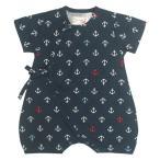 甚平 ロンパース 赤ちゃん ベビー 新生児 男の子 綿100% 日本製生地 マリン柄 新生児ドレス グレコロンパス 寝まき 出産祝 50cm 60cm