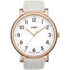 腕時計 タイメックス レディースウオッチタイメックス レディース ' 水晶真鍮と革の時計、色: ホワイト (モデル: T2N475) 並行輸入品