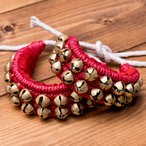 紐グングル (両足用) 赤 / 民族楽器 インド アジア エスニック 銅鑼 ベル ドラ グングルベルト 打楽器