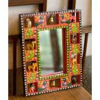 フォトフレーム 写真立て 鏡 インドの動物 鏡&フォトフレーム(小・オレンジ) エスニック アジア 雑貨