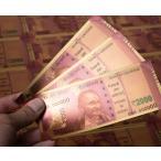 1000ルピー札モチーフのゴールドカード / 金運 財布 風水 お札 ガネーシャ ラクシュミー インド 本 印刷物 ス