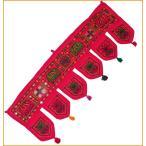 インドの飾りのれん (花・象・タッセル)赤 アソート / アジアン 布 ファブリック
